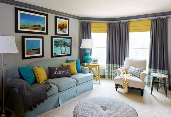 Gray Yellow And Turquoise Living Room Meriwether Design Group Lovely Living Rooms
