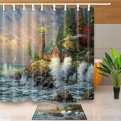 Chuami Polyester Fabric 69 X 70 Inches Shower Curtain Set Https Www Amazon Com Dp B07317qwd8 With Images Fabric Shower Curtains Lighthouse Bathroom Waterproof Fabric