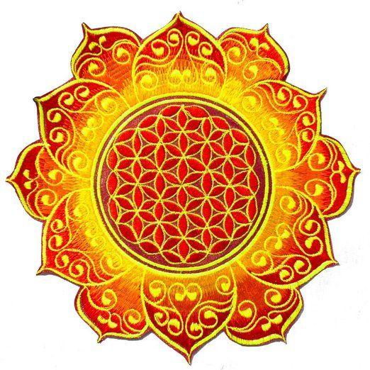 ImZauberwald Flower of Life patch - holy geometry (20cm, blacklight, deepred celtic mandala) Keltisch