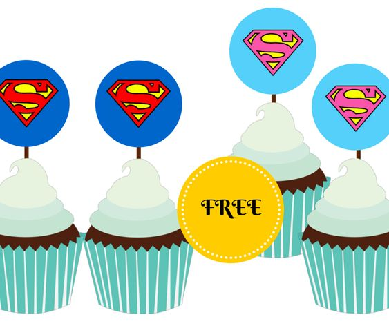 free printable supergirl and superman cupcake toppers