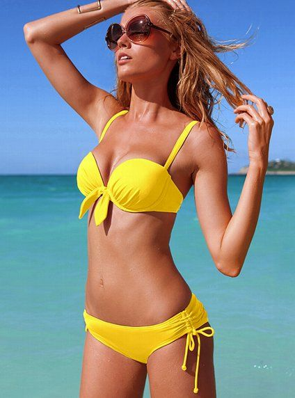 Yellow bikini with a top you can wear 5 ways!