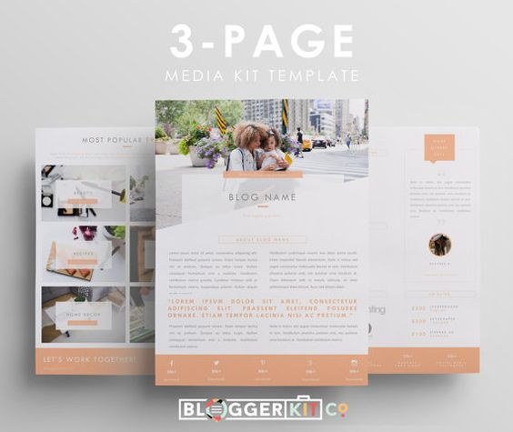 Three page media kit template press kit template for Free electronic press kit template
