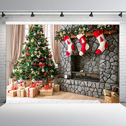 7X5FT-Christmas Tree Children Photography Backdrops Gift Socks Photo Studio Background