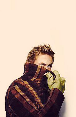Ryan Gosling complete with dinosaur gloves. :)