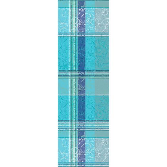 Chemin de table fantaisie Garnier-Thiebaut - Modèle : Mille asters - Chemin de table en coton - Coloris : bleu