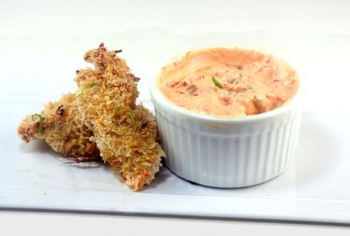 Crunchy Baked Coconut Lime Chicken Strips with Spicy Yogurt Dipping Sauce