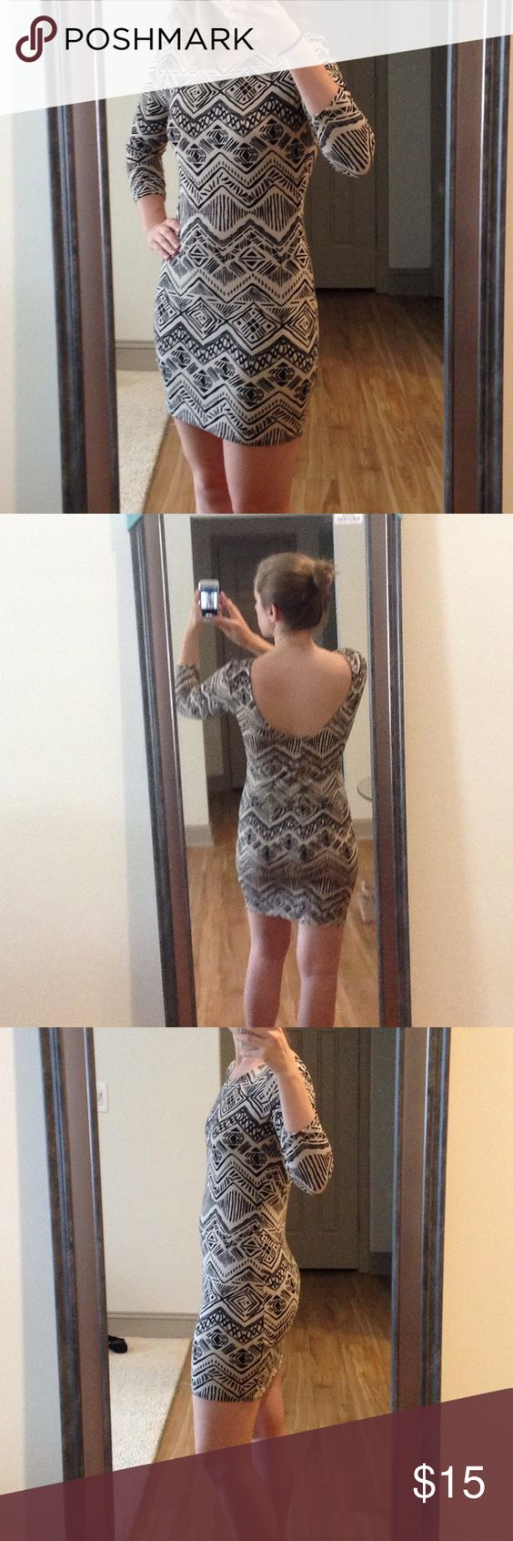 SUMMER SALE ☀️ F21 tribal print dress Fun and flirty tribal print bodycon dress from Forever 21. Tag says L, but I am a size 4 and it fits great. Super comfy jersey material, perfect for a night out! Material is 95% rayon, 5% spandex. Forever 21 Dresses Mini