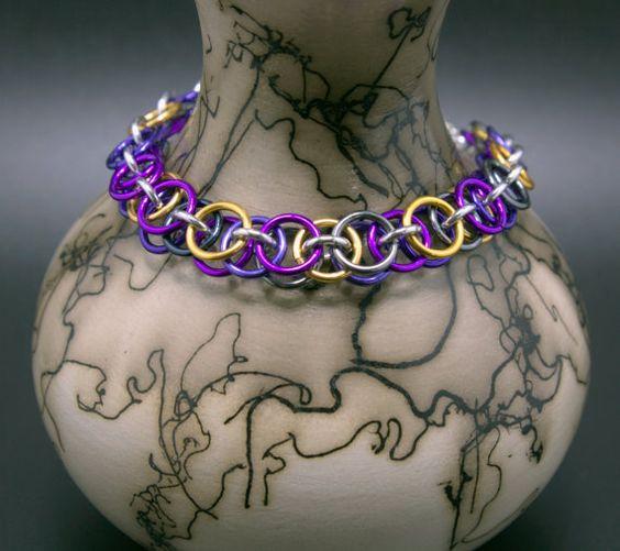 Purple, Gray, Dark Blue, and Gold Helm Chain Bracelet