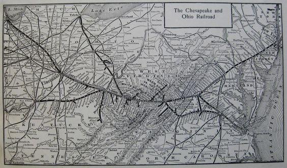 1914 Antique CHESAPEAKE & OHIO RAILROAD Map Vintage C & O RAILWAY Map