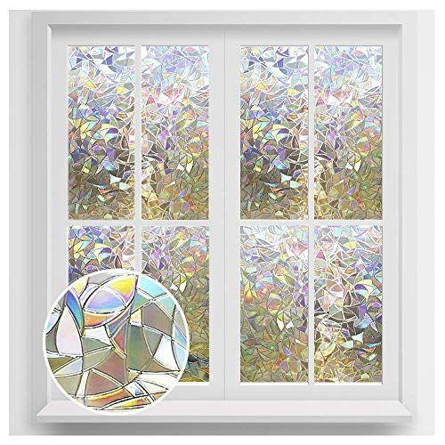 Rabbitgoo Window Privacy Film Rainbow Window Clings 3d Decorative Window Vinyl Stained Glass Window In 2020 Glass Window Decals Window Privacy Adhesive Window Film
