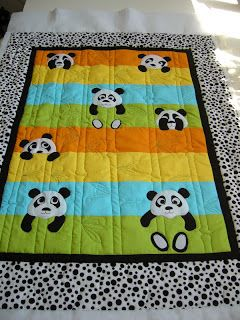 [check out the cute bamboo quilting motif!]Cheering up with a Baby Quilt - caledonia quilter: