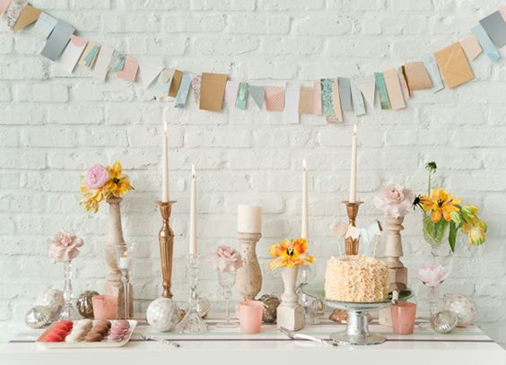 .: Dessert Tables, Paper Bunting, Party Idea, Pretty Pastel, Party Table, Sweet Table