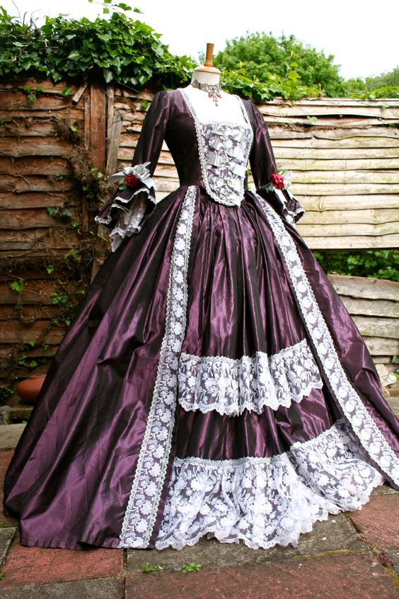 Purple (aubergine) and silver Georgian gown: