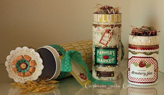 Porta-objetos decorados com Crate Paper