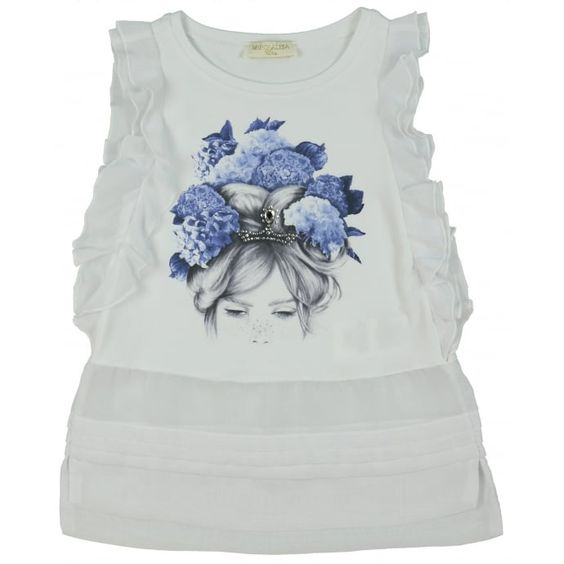 Monnalisa Girl's White T-Shirt with Blue Floral Crown Print. Available now at www.chocolateclothing.co.uk #childrenswear #minifashion #Monnalisa #chocolateclothing