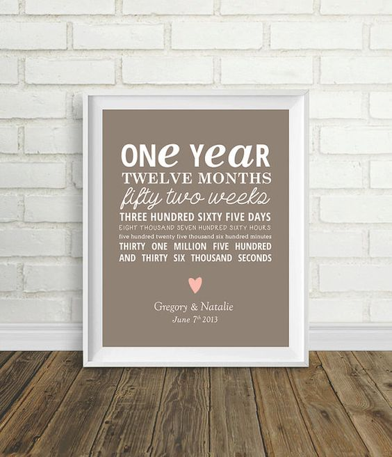 One Year Anniversary by PelletierCreative on Etsy, USD8.00
