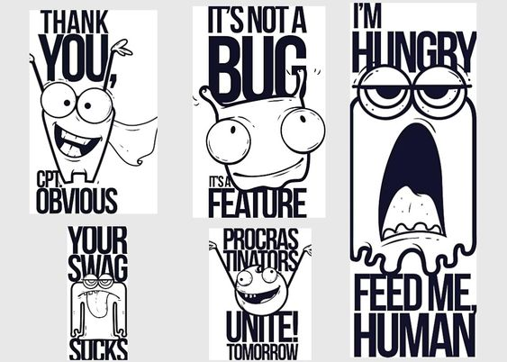 Cartoon t-shirt print funny set vector | FREE T-Shirt Designs and ...