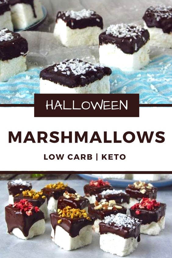 Low carb & Keto friendly Marshmellows for Halloween - low carb/low carb  snacks/keto treats/ keto halloween/keto treats for halloween/low carb dessert/ keto snacks/keto dessert for halloween/keto recipes for halloween/Easy keto recipes/keto chocolate/halloween food/creepy halloween food/spooky treats/halloween party food/halloween party ideas/