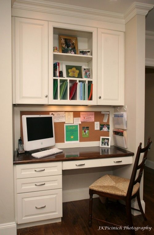 Built in desk nooks and kitchen desks on pinterest for Built in study table