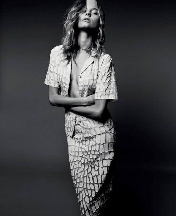 Magdalena Frakowiak in Stella McCartney summer '14, organza Ruby Shirt and Simona Skirt with crocodile appliqué embroidery