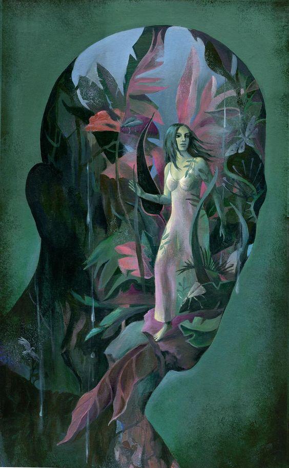 green - man - head - woman - Illustration - Alice Wellinger