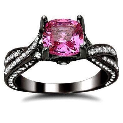 2.37ct Pink Sapphire Cushion Cut Diamond Engagement Ring 14K Black Gold