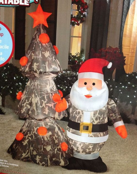 Santa claus camo with tree airblown christmas inflatable for Inflatable christmas decorations home depot