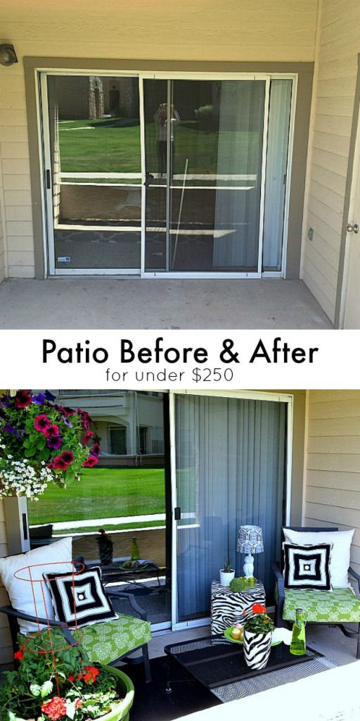 Before and after patio sliding doors jello and outdoor for Deck makeover on a budget