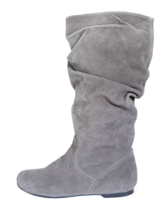 gray slouch boots flat 9 suede leather pesaro