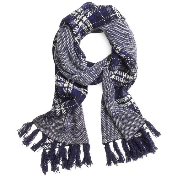 Brooks Brothers Wool Plaid Cable Knit Scarf ($49) ❤ liked on Polyvore featuring accessories, scarves, navy, navy shawl, fringe scarves, cable knit scarves, cable knit shawl and wool scarves