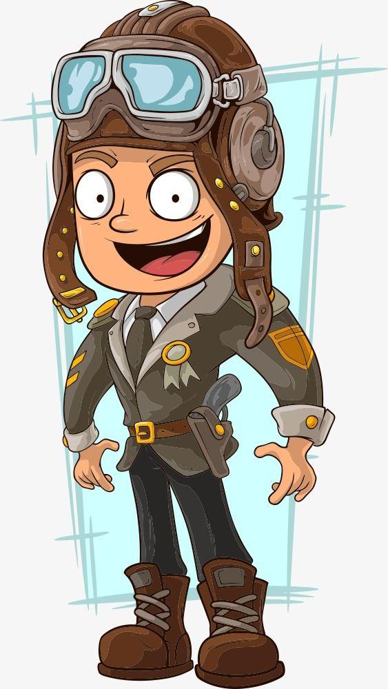 Vector Cartoon Pilot, Cartoon Vector, Vector Character