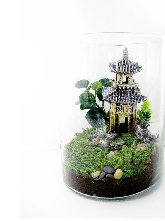 Oriental Terrarium Chinese Pagoda Landscape With Live