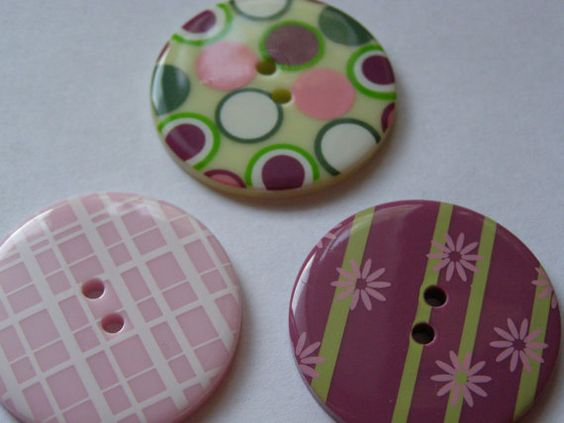 3 large craft/sewing buttons girly violets by pennycandyemporium