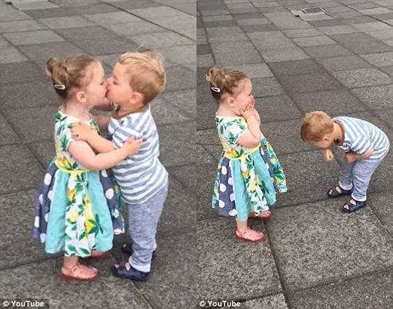 Adorable babies laugh hysterically as they kiss each other over and over again