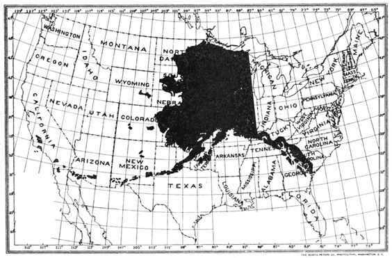 Map of alaska compared to the lower us states