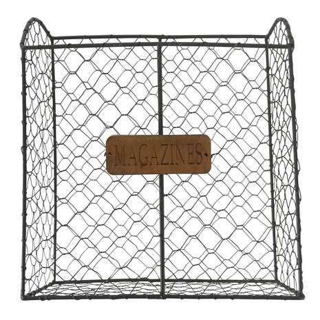 Declutter with this simple wire magazine rack featuring a plaque with 'magazine' text written on it....