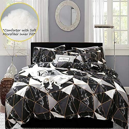 Karever Black Comforter Set Queen Black Marble Down Comforters With Gold Geomtric Triangle Pattern Bedding In 2020 Black Comforter Comforter Sets Queen Comforter Sets