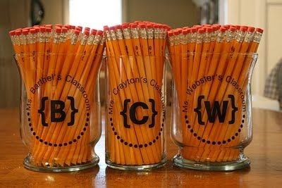 Great at the beginning of the school year - tons of ideas on this site for teachers and room moms!: Pencil Jar, Teachers Gift, Teacher Idea, Diy Gift, Teacher Gift, Appreciation Gift
