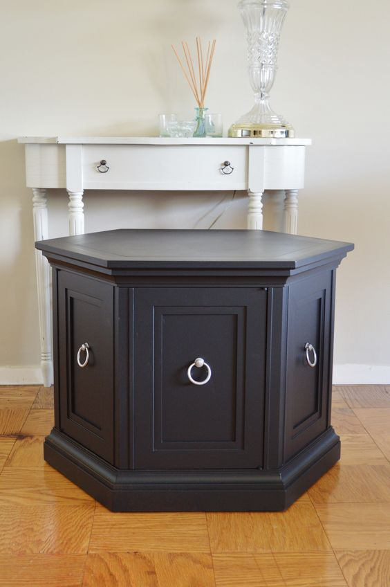 ... modern hexagon side table. Retro cabinet in black. Round end table