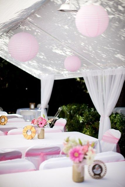 Pink and white baptism party ideas outdoor parties for Baby shower canopy decoration