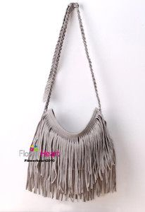 Gray FX Suede BoHo HIPPIE Fringe Cross Body Bag Hot!