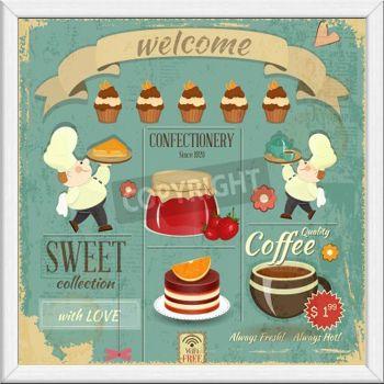 "Gerahmtes Wandbild ""Cafe-Menü-Karte""."