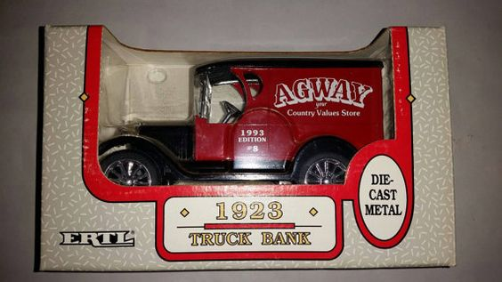 Check out this item in my Etsy shop https://www.etsy.com/listing/206678096/ertl-die-cast-125-1923-agway-truck-bank