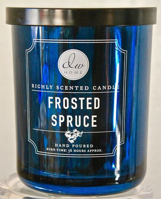 Dw Home Candle Frosted Spruce 2 Wick Blue Metallic Glass Jar