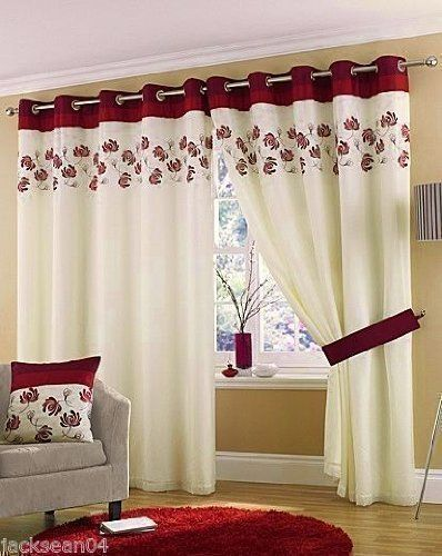 Red Curtains amazon red curtains : STUNNING CREAM WINE RED LINED RING TOP EYELET VOILE CURTAINS W46 ...