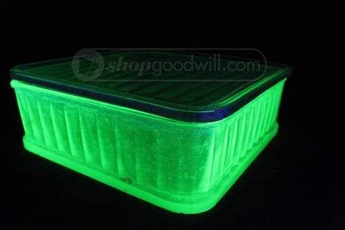 shopgoodwill.com: Vintage Vaseline Glass Square Dish W/Glass Lid