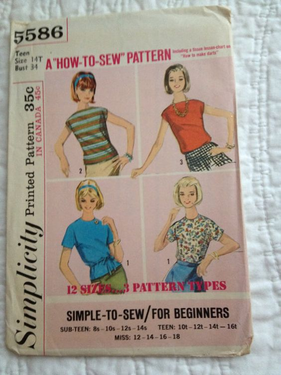 Vintage Simplicity Pattern for Teen Womans blouse/top with 3 versions  Size: 14T Bust: 34 Waist: 26 Hips: 36