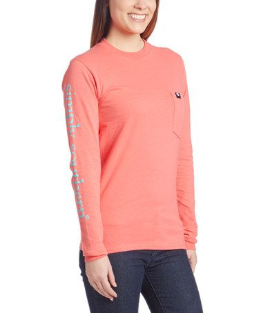 Look what I found on #zulily! Coral 'Simply Southern' Long-Sleeve Tee #zulilyfinds