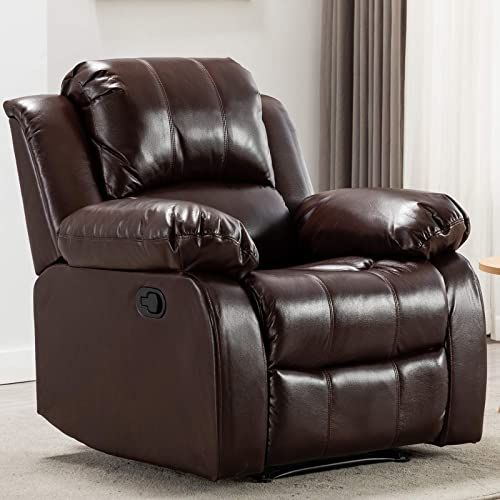 Amazing Offer On Anj Recliner Chair Overstuffed Heavy Duty Recliner Breathable Bonded Leather Home Theater Seating Manual Chairs Recliner Single Sofa R9393 Brown Online In 2020 Leather Living Room Furniture Living