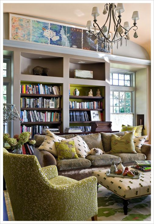 Custom Cool - love the maps over the bookshelves, bookcase w/chartreuse back, the grey walls; inset windows, rug